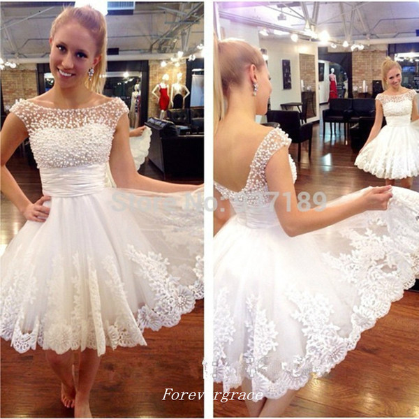 Short Summer Beach Lace Beaded Wedding Dress High Quality White Backless Women Bridal Gown Plus Size