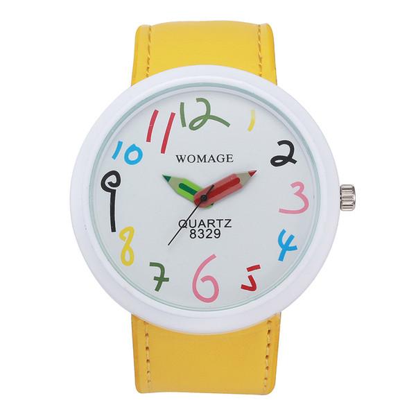 Wholesale 8 Colors Cute Cartoon Watch Pencil Pointer Leather Strap Alloy Wristwatch For Men Women Kids