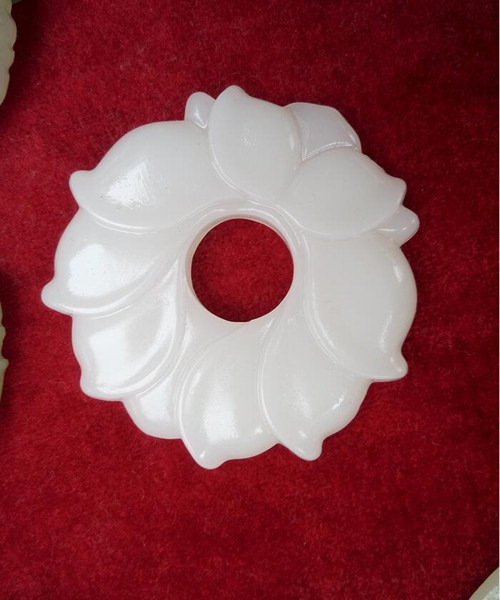 Wholesale Jade Flower White Jade Pendants for Jewelry necklace man and Womens jewelry Natural Jade Flower free shipping A11S1S30