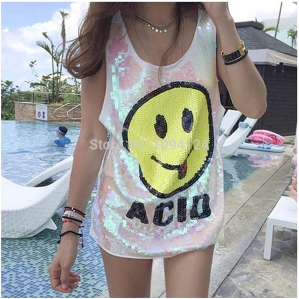 High quality sexy & Club Women Stage Dresses Smiling Face Short Loos Sequined Girl Hip Hop clothing Costumes Loose Dress jazz Dance S-XL
