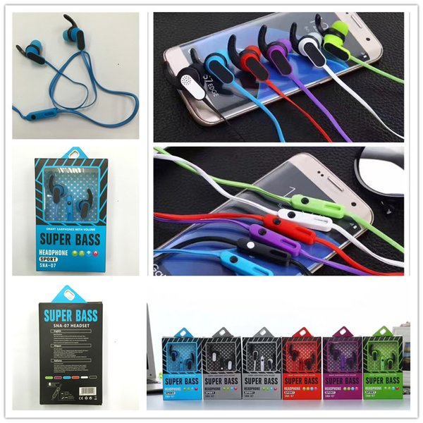 Colorful 3.5mm noodle Earphone In-Ear Headphones with Mic Stereo Headset for all IOS phone mobile android smart phone earbuds with packing