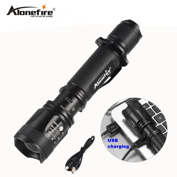 AloneFire TK200 lanterna powerful led cree xml t6 usb zoom flashlight tactical torch flash light self defense 18650 battery