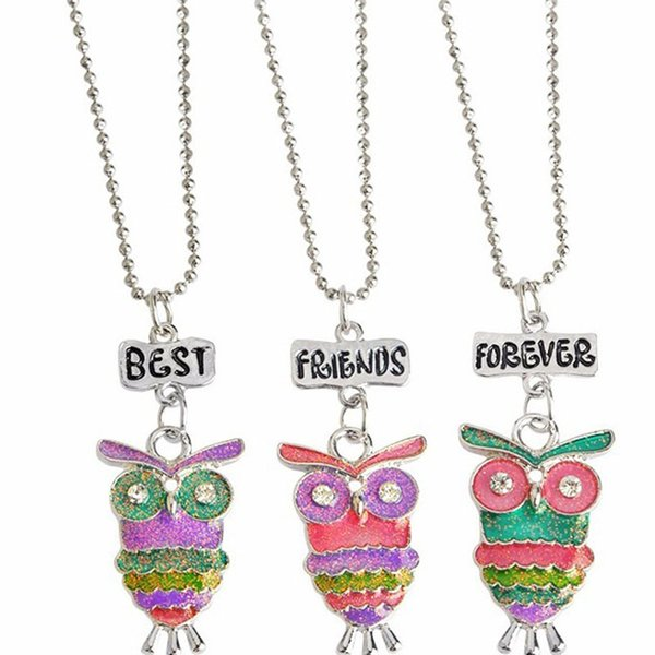 Best Friends Forever BFF pendant charm beaded chain multi mix colorful epoxy glitter glass kids cute lovely owl necklace 3pc set 161914