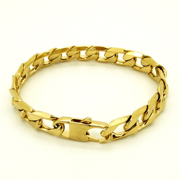 """top popular 100% Stainless Steel Bracelet Men Retro Jewelry 18K Gold Plated T and CO Curb Cuban Chain 6 8 12 mm Width 8"""" Inches 2021"""