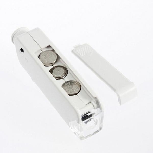 Toptan-Yeni El Mini 160X-200X Zoom LENS LED Işıklı Cep Mikroskop Büyüteç Büyüteç