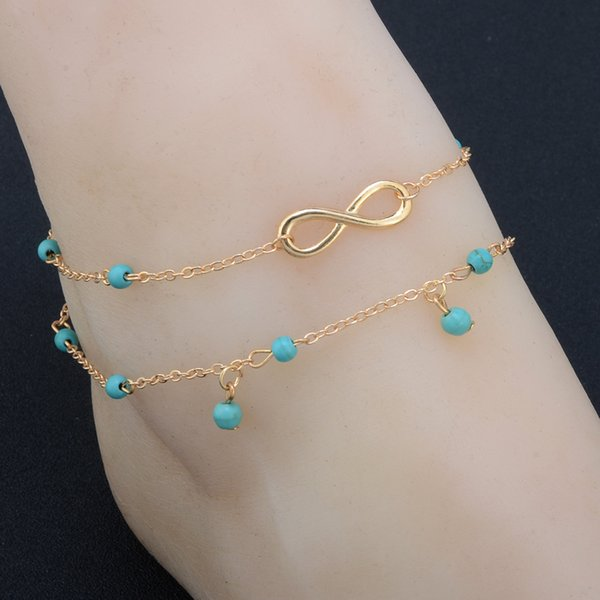 Vintage Fashion Summer Beach Anklet Bracelet Infinity Foot Jewelry Turquoise tassels Gold Silver Chain Anklets Foot Chain for Women