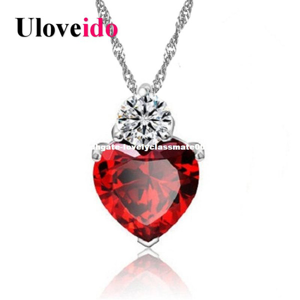 15% Off dhgate Red White Purple Crystal Heart Pendant Necklaces & Pendants for Women Charms Jewelry Colar Suspension 55641