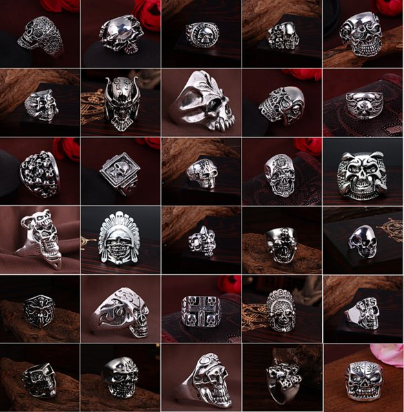 top popular Fashion Silver Gold Men's GOTHIC BIKER Punk Rock Skull Jewelry Rings Wholesale Lots mix styles Brand New 2019