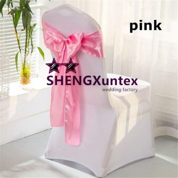 White Color Chair Cover \ Spandex Chair Cover With 100pcs Pink Color Satin Chair Sash