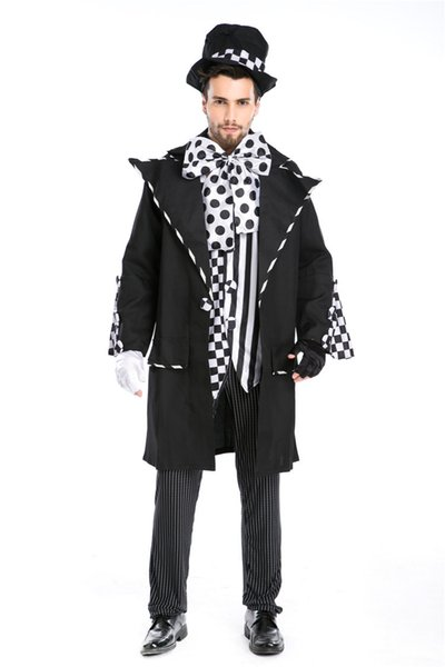Halloween Carnival Costumes Adult Men Magician Chaplin Dark Mad Hatter Costume Uniform Fancy Cosplay Clothing for Men