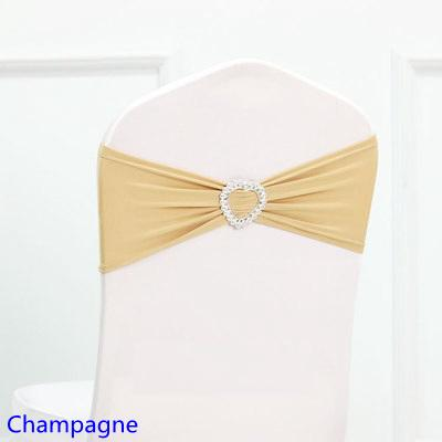 Hot Sale Champagne Colour Spandex Sash Lycra Bands Stretch Elastic Chair Ribbon Sash With Love Heart Buckle Wedding Hotel Home Banquet Party