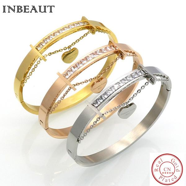 INBEAUT Women Fashion Zinc Alloy CZ Paved Heart Chain Bracelet Forever LOVE Letter Bangle for Woman Luxury Bracelets GF Gift