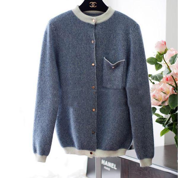 Vendita all'ingrosso- Moda tendenza reale lana di visone maglione cardigan donne Vendita calda naturale misto cashmere maglione pulsante oro TFP732
