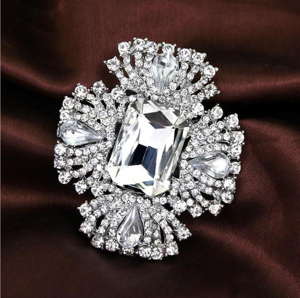 Top Luxury Clear Rhinestone Crystal Brooches Big Diamond Glass Fashion Full Rhinestone Flower Brooch Pins Bridal Wedding Corsage Jewley