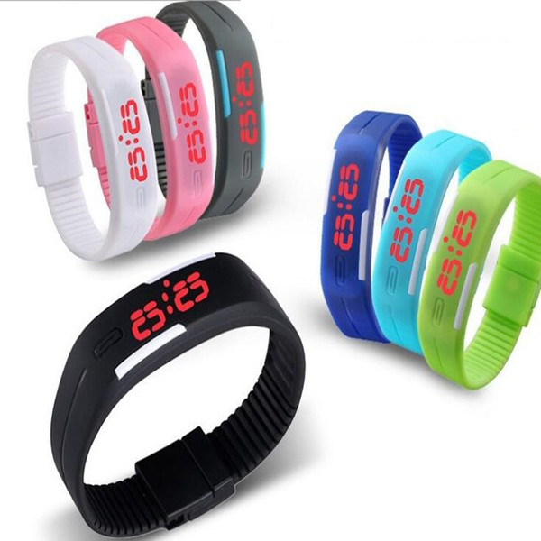 best selling 2016 Sports rectangle led Digital Display touch screen watches Rubber belt silicone bracelets Wrist watches 100pcs UP