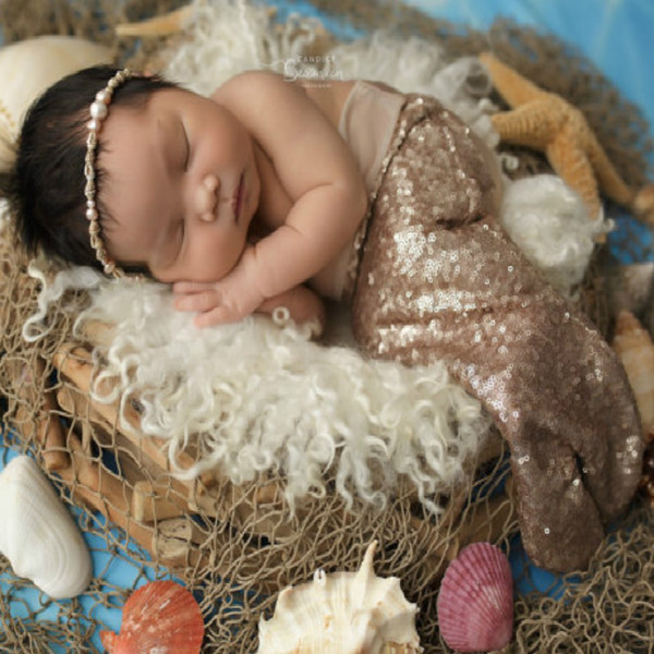 Newborn Photography Props Baby Sequins Mermaid Style Tail Clothing Infant Coming Home Costume newborn crochet Shower Gift accessories