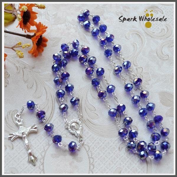Free shipping Religioius Gifts Elegant AB Faceted Blue Crystal Religious Rosary Silver Women's Rosary Necklace