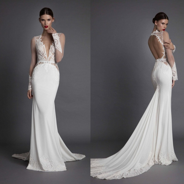 Berta Mermaid Long Sleeve 2017 Wedding Dresses Backless Lace Applique Sheer Plunging Neckline Court Train Fishtail Bridal Gowns