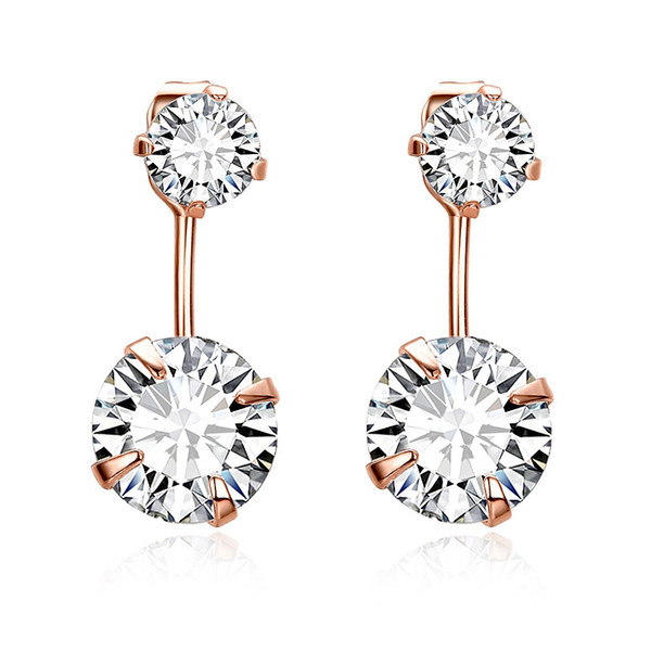 Trendy Rose Gold Plated Front Back Round CZ Crystal Stud Earrings Jacket Jacket Cuff Earrings Set Statement