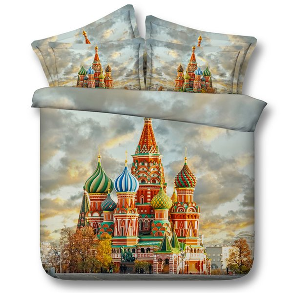4 Styles Russian Castle 3D Printed Bedding Sets Twin Full Queen King Size Bedspreads Bedclothes Duvet Covers Firework Galaxy Stars 3/4PCS