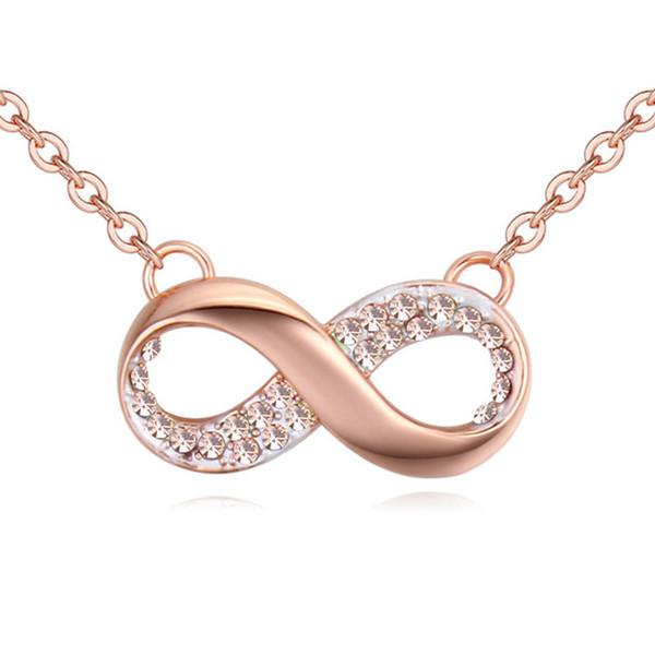 Ciondolo infinity fashion design semplice in placcato color oro per donna regalo donna realizzato con cristalli Swarovski Elements