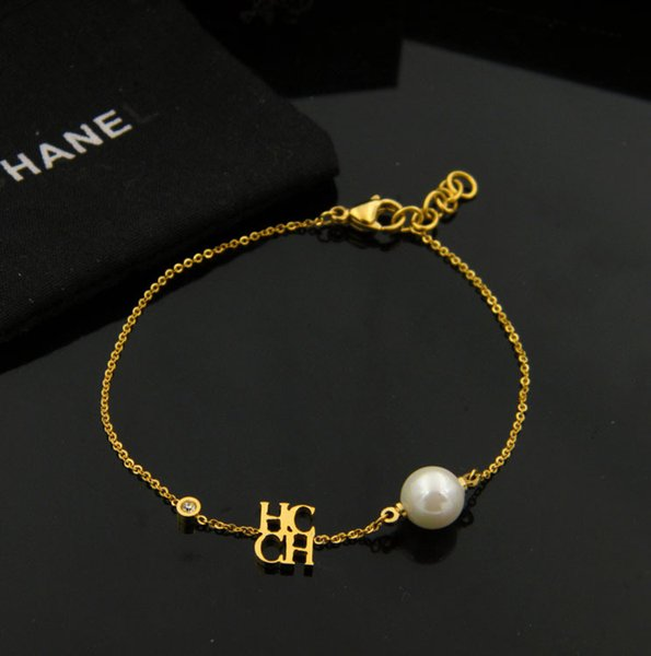 New arrival 316L stainless steel chain with pearl beads for chc and diamond for women and mother's day gift jewelry free shipping PS5283