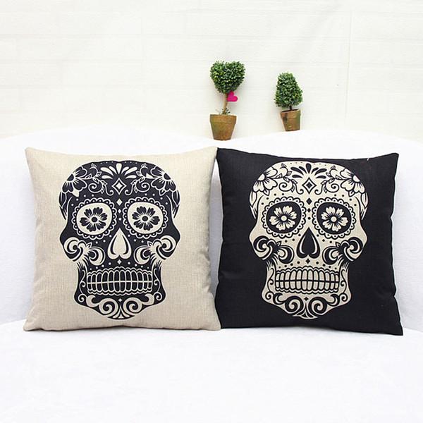 Cuadrado 45x45cm Estilo del cráneo Impreso Sofá decorativo Cojín Cojines Cama Coche Sala de estar Decoración Almofada cojines - Con interior