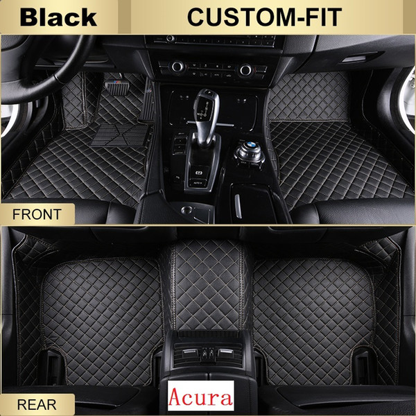 SCOT Custom Fit Leather Car Floor Mats for Acura RLX All Weather Waterproof Anti-slip 3D Front & Rear Carpets Left-Hand-Driver-Model