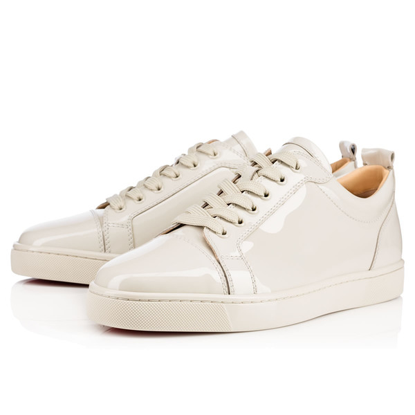 [Box+bag+card] Luxury Birthday Gift Mens Red Bottom Sneaker Junior Men's Flat Genuine Leather High/Low Skateboard Shoes Sleek Black Wholesal