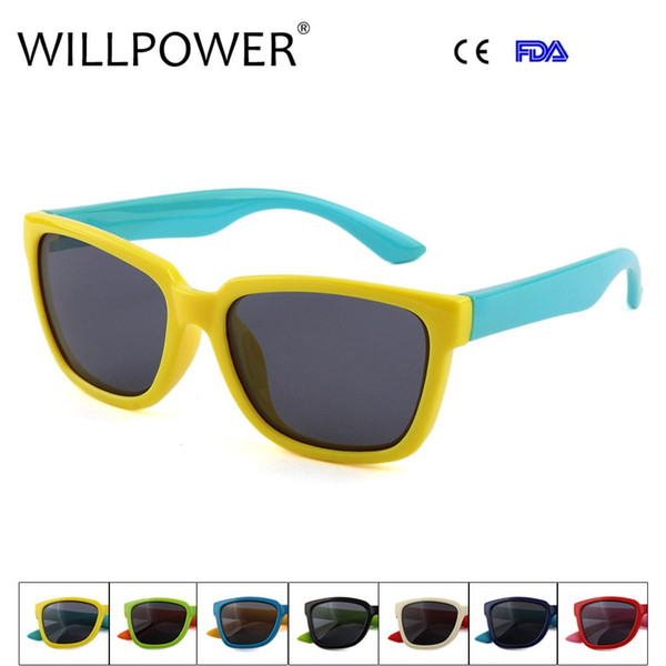 WILLPOWER Wholesale New Child Silicone Sunglasses Kids Designer Shades For Boys Girls Goggle Baby Glasses Oculos Infantil