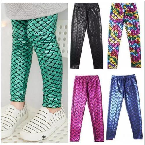 76258a7d13508c Girls Mermaid Leggings Kids Fish Scale Tights Skiny Stretchy Pencil Pants  Baby Slim Digital Print Trousers