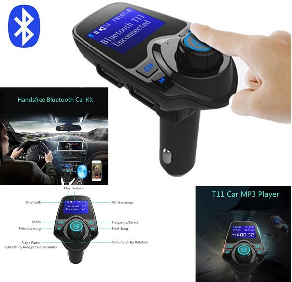 T11 Bluetooth Hands-free Car Kit With USB Port Charger And FM Transmitter Support TF Card MP3 Music Player VS BC06 BC09 T10 X5 G7 Car Kit