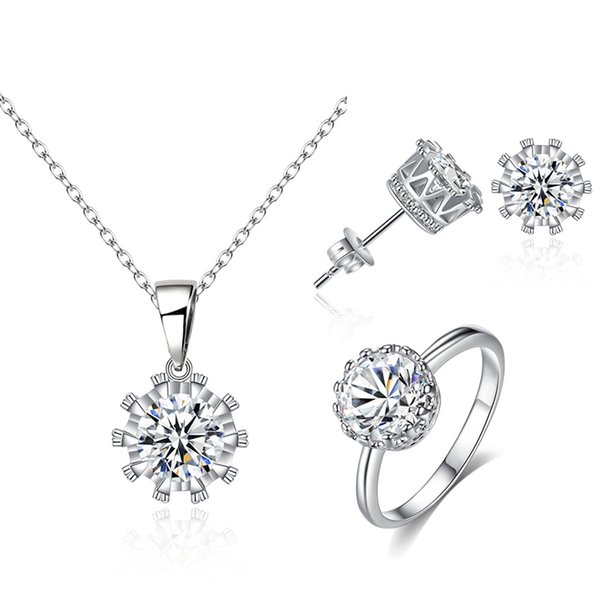 White Gold Color Round Cupid Cut Zircon CZ Small 8MM Stud Earrings Pendant Necklace 6-9 Size Ring Jewelry Sets for Party Gift