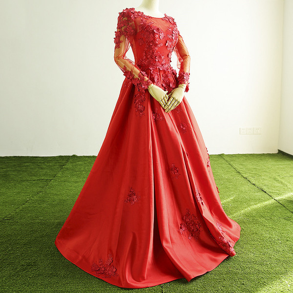 Real Picture Red Flowers Sexy Scoop Neck Satin Evening Dress Long Sleeves A-Line Prom Party Dresses Evening Gowns Robe De Soiree