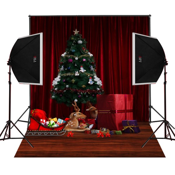 Bloody Christmas Tree.2019 Bloody Red Stage Curtain Christmas Tree Decor For Baby Newborn Photography Backdrops Camera Fotografica Digital Prop Studio Photo Background From