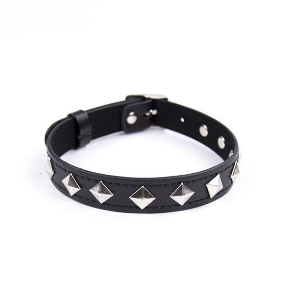top popular 43*2cm Adult BDSM Products Black PU Leather Alloy Rivets Sexy Dog Slave Neck Collar Women Gothic Choker Fetish Bondage Necklace 2020