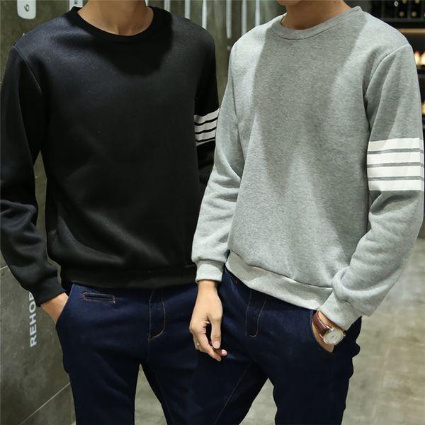 Wholesale Men Casual Hoodies Hip Hop O Neck Long Sleeve Pullover Sweatshirts Striped Uniform Spring Autumn Japanese Style Blue Grey Black
