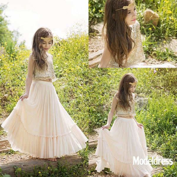 Due pezzi Boho Country Flower Girls Abiti per matrimoni spiaggia 2019 paillettes piano lunghezza bambino usura formale prima comunicazione vestito economico