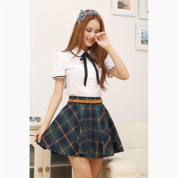 Japon Okulu Kız Üniforma Kore Öğrenci Koleji Üniforma Etek Kadın Pamuk Beyaz Dantel Gömlek + Ekose Pilili Etek Kadın