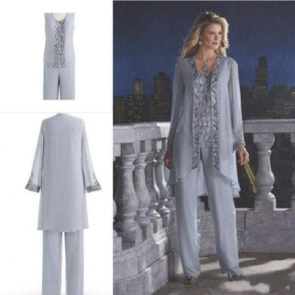 New Arrival 2016 Mother Of The Bride Three-Piece Pant Suit Chiffon Beach Wedding Mother's Groom Dress Long Sleeve Beads Wedding Guest Dress