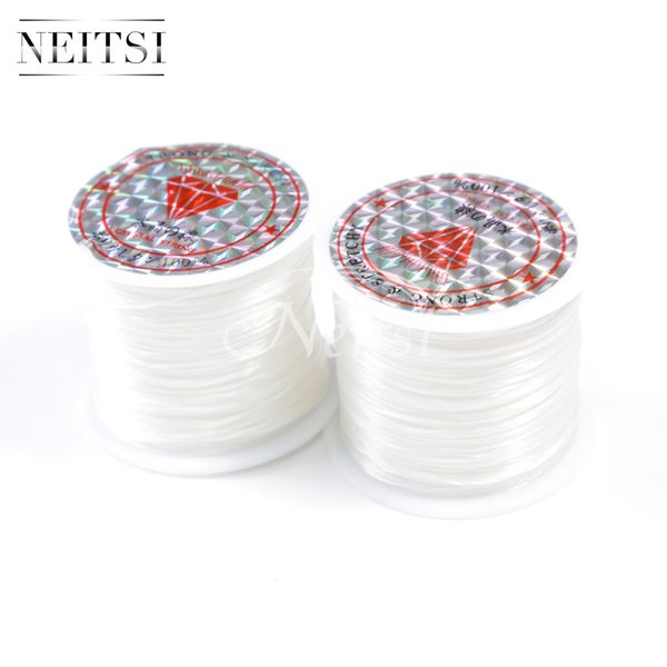 Neitsi 50Meters White# 5pcs/lot Crystal Beads Lines Elastic Cord Stretchy String Jewellery Cord Rolls Polyester Embroidery Sewing Thread