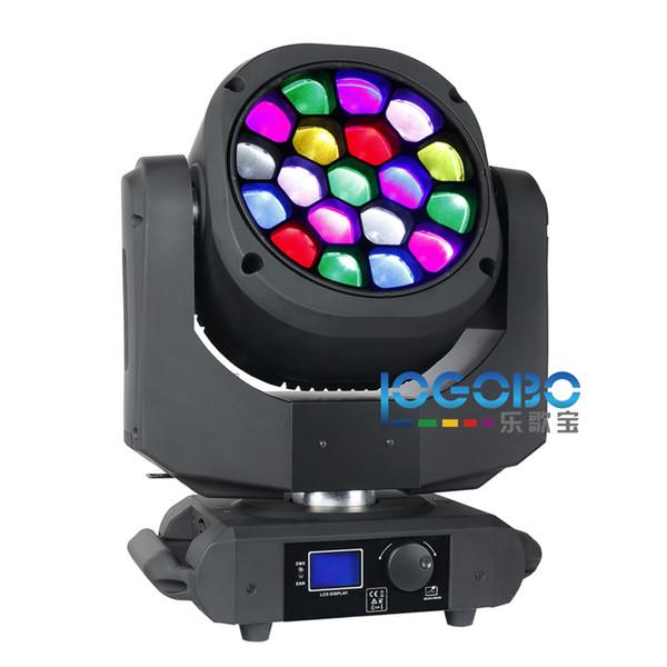 Confezione da 2 set 19x15W Big Bee Eye Lighting Proiettore a testa mobile Disko Proiettore Zoom 4-60 gradi RGBW DMX DJ Beam Spot Stage Effect Lights