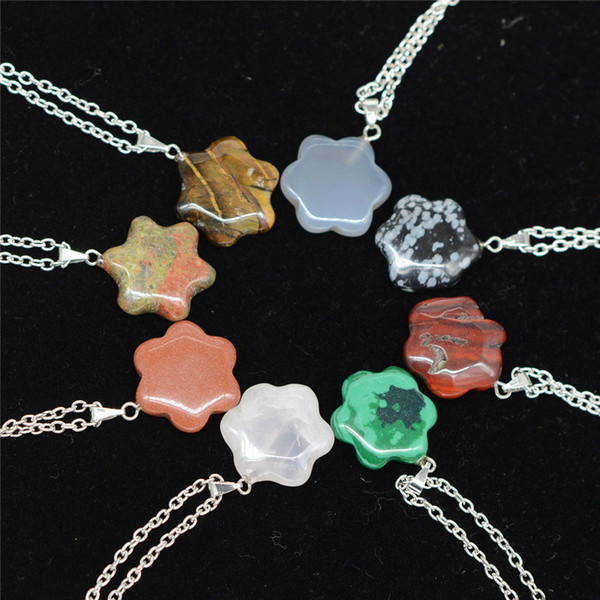 Flower Natural Stone Chain Necklaces