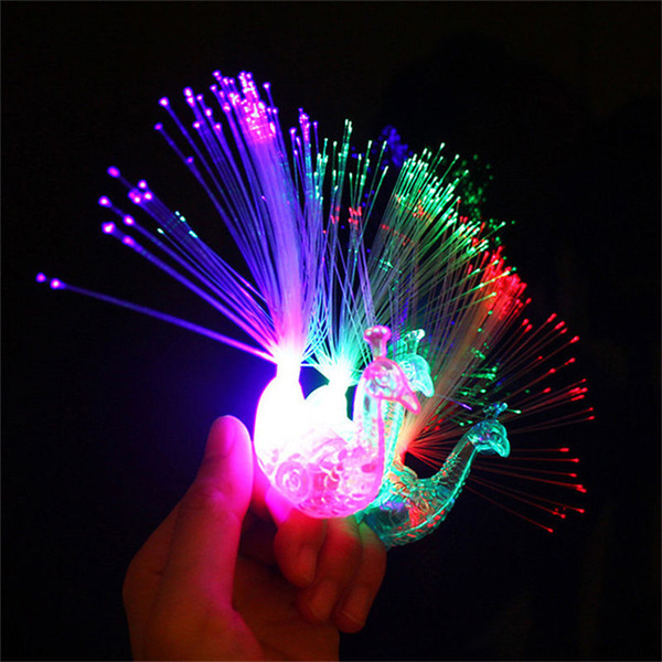 best selling 2017 Creative Peacock LED Finger Ring Lights Beams Party Nightclub Color Rings Optical Fiber Lamp Kids Children Gifts Party Supplies