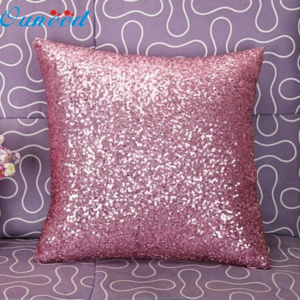 Wholesale- Mosunx Business Solid Color Glitter Sequins Throw Pillow Case Cafe Home