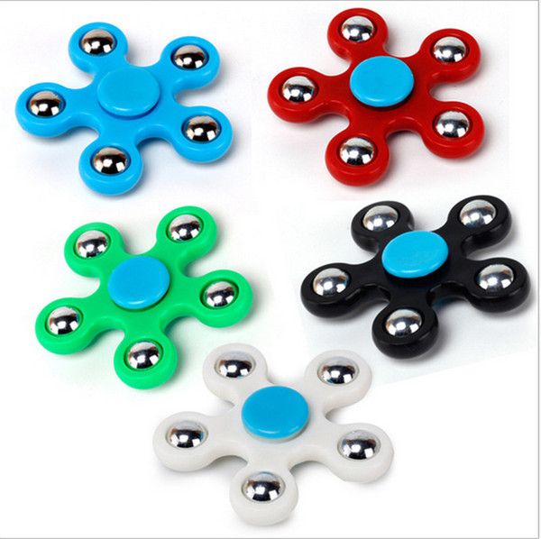 top popular Five-Pointed Star Fidget Spinner Hand Spinners Toy Children Adults Focus Keep Hands Busy Handspinners 5 Ball Fingertip Decompression Toys 2019