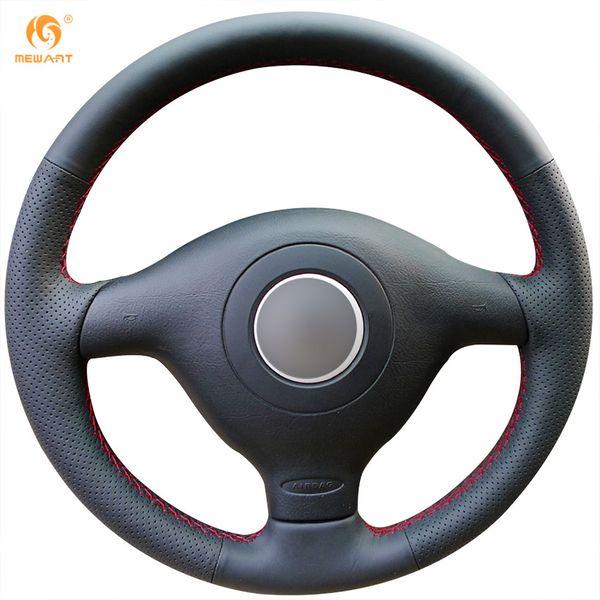 Mewant Black Genuine Leather Car Steering Wheel Cover for Volkswagen VW Golf 4 Passat B5 1996-2003 Polo 1999-2002 Seat Leon 1999-2004