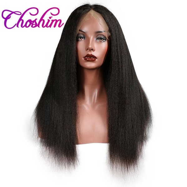 KL Lace Front Human Hair Wigs Kinky Straight Natural Color Brazilian Remy Hair Lace Wigs For Black Women With Baby Hair