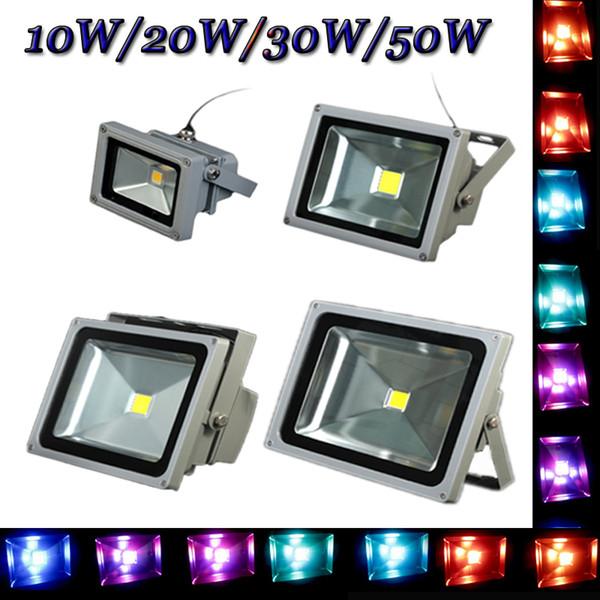 Atacado-10W 20W 30W 50W de alta qualidade IP65 à prova d'água AC85-265V RGB branco / branco quente LED FloodLight jardim ao ar livre lâmpadas Atacado