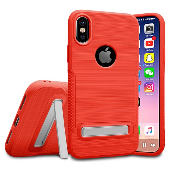 Armor Drawing Case with Stand Defender Hybrid PC TPU Non-slip Phone Case Cover for iPhone X 8 7 6 6s Plus DHL free shipping SCA352